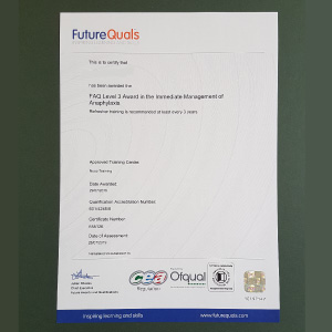 FutureQuals certificate for Immediate Management of Anaphylaxis