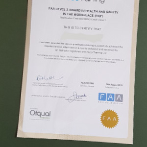 FAA Certificate for Health and Safety in the Workplace Awareness