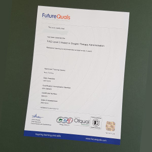 FutureQuals certificate for Oxygen Therapy Administration