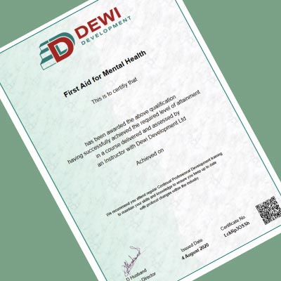 Dewi Development Certificate for Awareness of First Aid for Mental Health in the UK