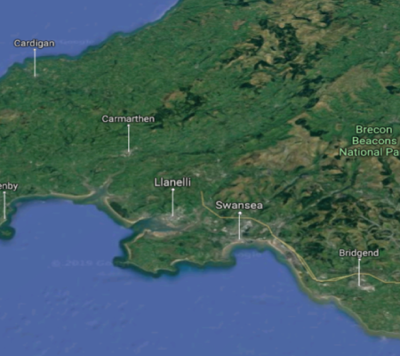 Satalite map of swansea and surrounding areas