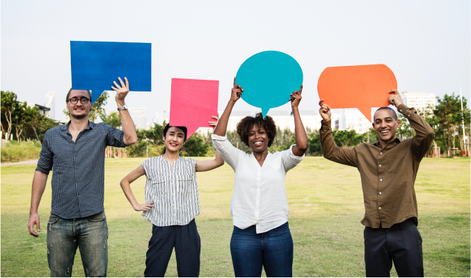 People of different backgrounds holding different shapped speech bubbles